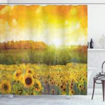 """Ambesonne Sunflower Shower Curtain, Landscape with a Golden Yellow Sunflower Field and Distant Hill Sunset Colors, Cloth Fabric Bathroom Decor Set with Hooks, 70"""" Long, Green Orange"""