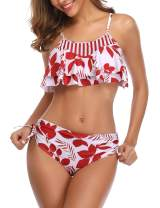 Mycoco Women's Crop Bikini Set Flounce Two Piece Swimsuits