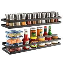 Wall Mounted Spice Rack Organizer 2 Pack,Hanging Seasoning Spice Rack Shelf Holder Organizer Storage for Kitchen Cabinet Pantry Door (Black )