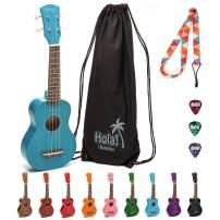 Hola! Music HM-21BU Soprano Ukulele Bundle with Canvas Tote Bag, Strap and Picks, Color Series, Blue