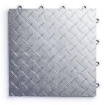 RaceDeck Diamond Plate Design, Durable Interlocking Modular Garage Flooring Tile (12 Pack), Alloy