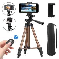 """Phone Tripod, PEYOU 42"""" Aluminum Camera Tripod + Wireless Remote Shutter + Universal Smartphone Holder Mount Compatible for iPhone Xs Max XS XR X 8 Plus 7 6 6S Plus, Galaxy Note 9 8 S10 S9 S8 Plus S7"""