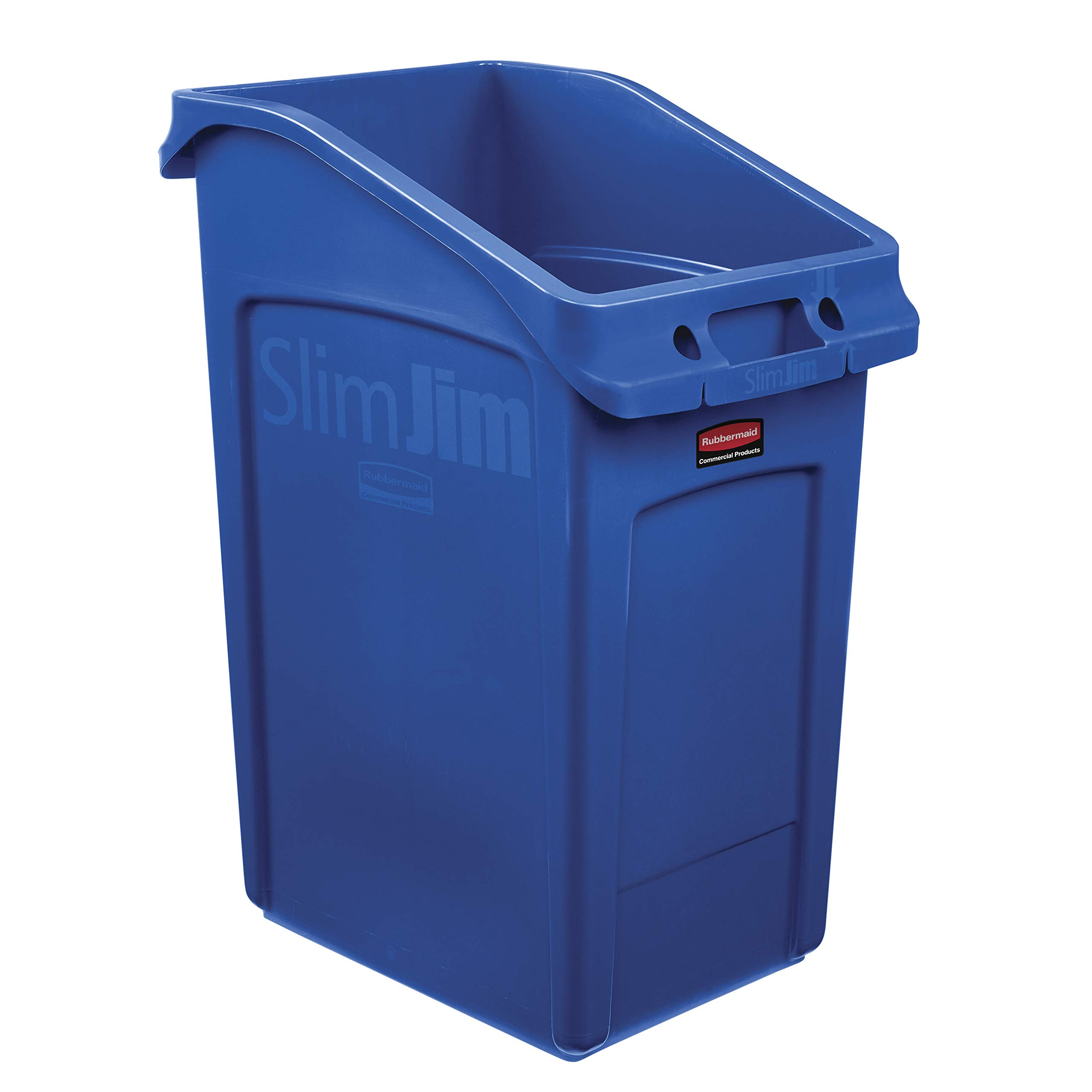 Rubbermaid Commercial Products 2026725 Slim Jim Under-Counter Trash Can with Venting Channels, 23 Gallon, Blue