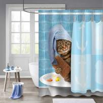"""MitoVilla Funny Cat Bathroom Shower Curtain, Cartoon Pet Kitten Wearing Towel Cap with Rubby Duck Toy Behind Shower Curtain Bathroom Accessories for Baby Kids and Teen Children Gifts, Blue, 72"""" x 72"""""""