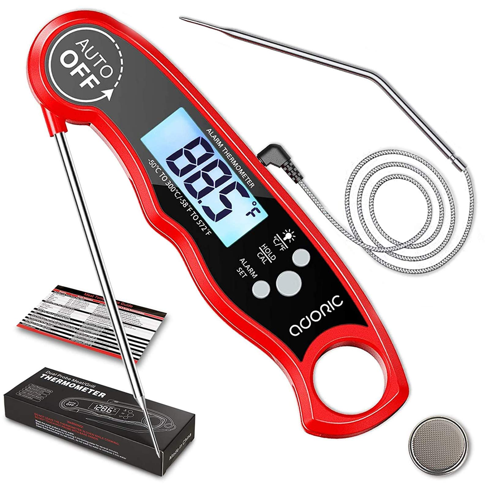 Instant Read Meat Thermometer, Digital Food Thermometer Instant Read, Meat Thermometer for Cooking, Grilling, Smoking, Baking, Turkey, Milk, Dual Probe Thermometer 2 in 1 Function