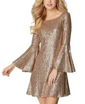 PROMLINK Long Sleeve Sequin Prom Homecoming Dress for Women Short Evening Gown