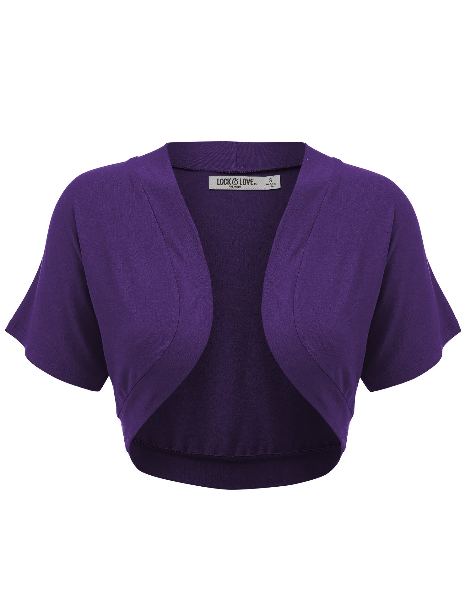 Lock and Love Women's Versatile Open Front Lightweight Short Sleeve Bolero Shrug