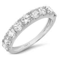 Clara Pucci 1.0 ct Round Cut Simulated Diamond CZ Pave Set Bridal Wedding Engagement Band Ring 14kt White Gold
