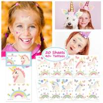 Sovereign-Gear Unicorn Temporary Tattoos for Kids Unicorn Party Favors, Rainbow Unicorn Birthday Decorations and Supplies - Non-Toxic Waterproof Pack of 20 Sheets - 40+ Fake Tattoos Sticker