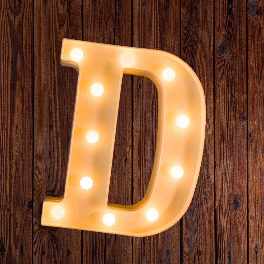 LED Marquee Number Lights Sign Light Up Marquee Letter Lights Sign for Night Light Wedding Birthday Party Battery Powered Christmas Lamp Home Bar Decoration D