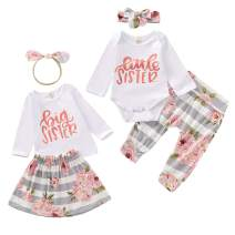 Toddler Baby Girls Sister Matching Outfits Big Kids Little Big Sister Long Sleeve Top Romper + Floral Skirt Clothes Set