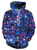 RAISEVERN Unisex 3D Print Ugly Christmas Fleece Hoodie Cool Novelty Pullover Hooded Sweatshirt