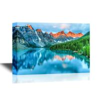 wall26 - Beautiful Nature Landscape/Scenery Canvas Wall Art - Morning Sunrise at Moraine Lake in Banff National Park - Gallery Wrap Modern Home Decor | Ready to Hang - 16x24 inches