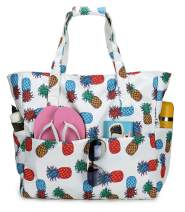 Large Beach Tote Bag Waterproof Pool Bag for Women Oversized Travel Totes for Family (Pineapple-White)