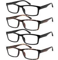 Reading Blue Light Blocking Glasses Rectangle Eyeglasses for Women 4 Pack