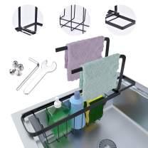 EVILTO Sponge Holder for Kitchen Sink, Sink Caddy Sponge Holder, Expandable(13.4''-17.7'') Kitchen Sink Organizer - Carbon Steel Design Telescopic Sponge Holder Towel Rack, with 2 Towels, Black