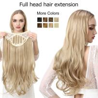 """Blonde Clip in Hair Extension Curly Curl Wave Full Head Long 24"""" 0.37lb 170g One Piece U part Synthetic Hairpiece For Women Natural Real Hair Piece Japan High Temperature Fiber(UH17#613 beach blonde)"""