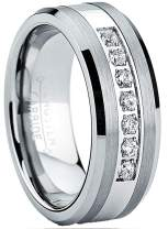 Metal Masters Co. Tungsten Carbide Men's Engagement Wedding Band Ring with Stainless Steel Center,Cubic Zirconia 8mm, Sizes 7 to 13