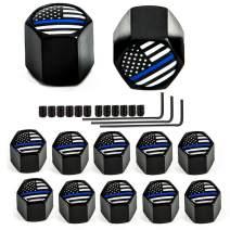 Dsycar 12 Pack Tire Valve Stem Caps, Thin Blue Line Black American Flag, Anti-Theft Hexagon Design Aluminum Valve Stem Caps fits Cars, Trucks, Bikes, Motorcycles (Anti-Theft - Black Blue USA)