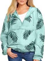 EVALESS Women 1/4 Zip Windbreaker Jacket with Hood Floral Rain Coat S-XXL