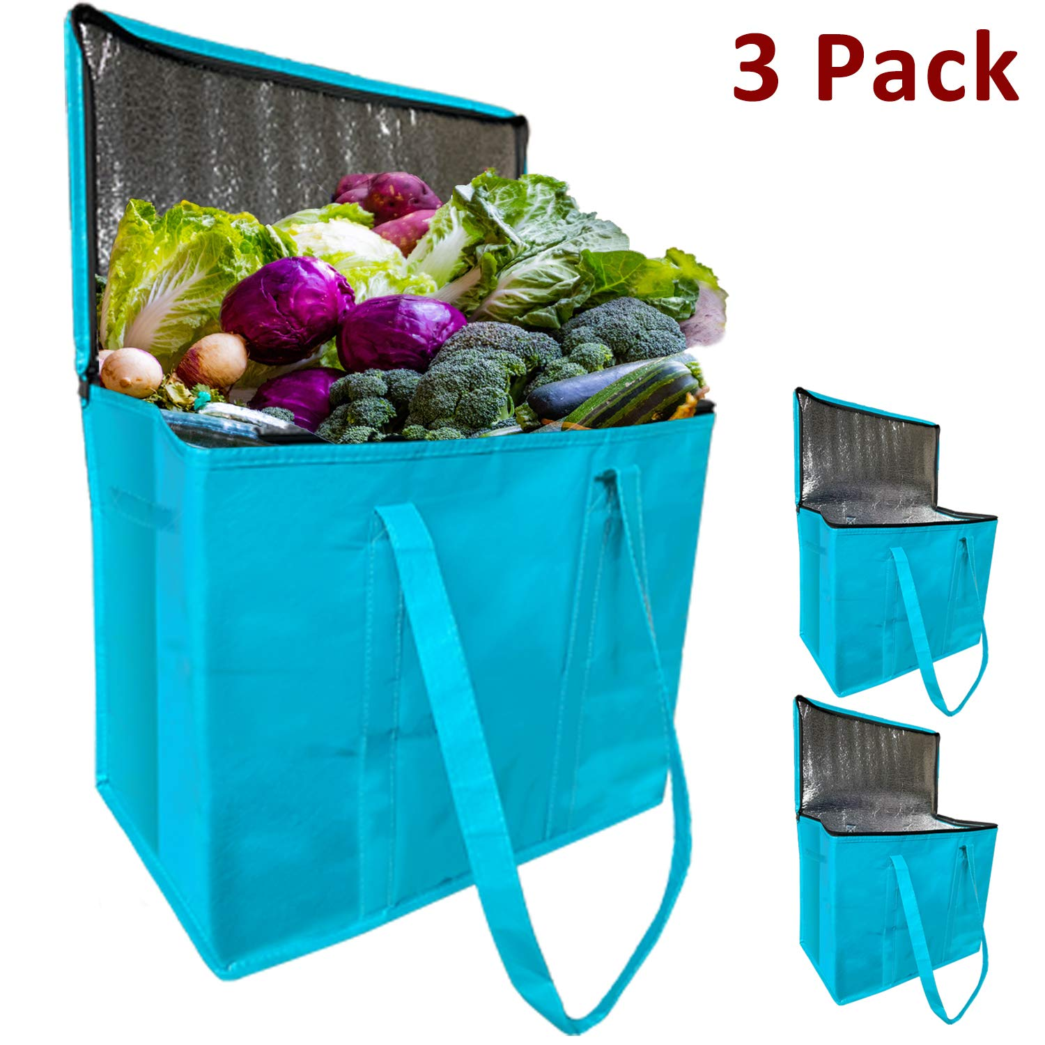 JALOUSIE 3 Pack XL Insulated Reusable Grocery Shopping Bags - Extra Large Water-resistant Surface Picnic Cooler Bag Zipper Bag - Reinforced Bottom and Handles