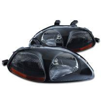 DNA MOTORING HL-OH-HC96-BK-AM Headlight Assembly, Driver and Passenger Side, Black Housing Amber Reflector