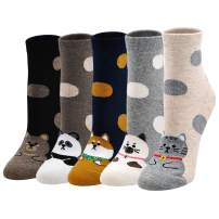 Women Ankle Socks Cotton Cute Cat Animal Casual Dress Sox Girls Funny Colorful Novelty Sock 4/5 Pairs