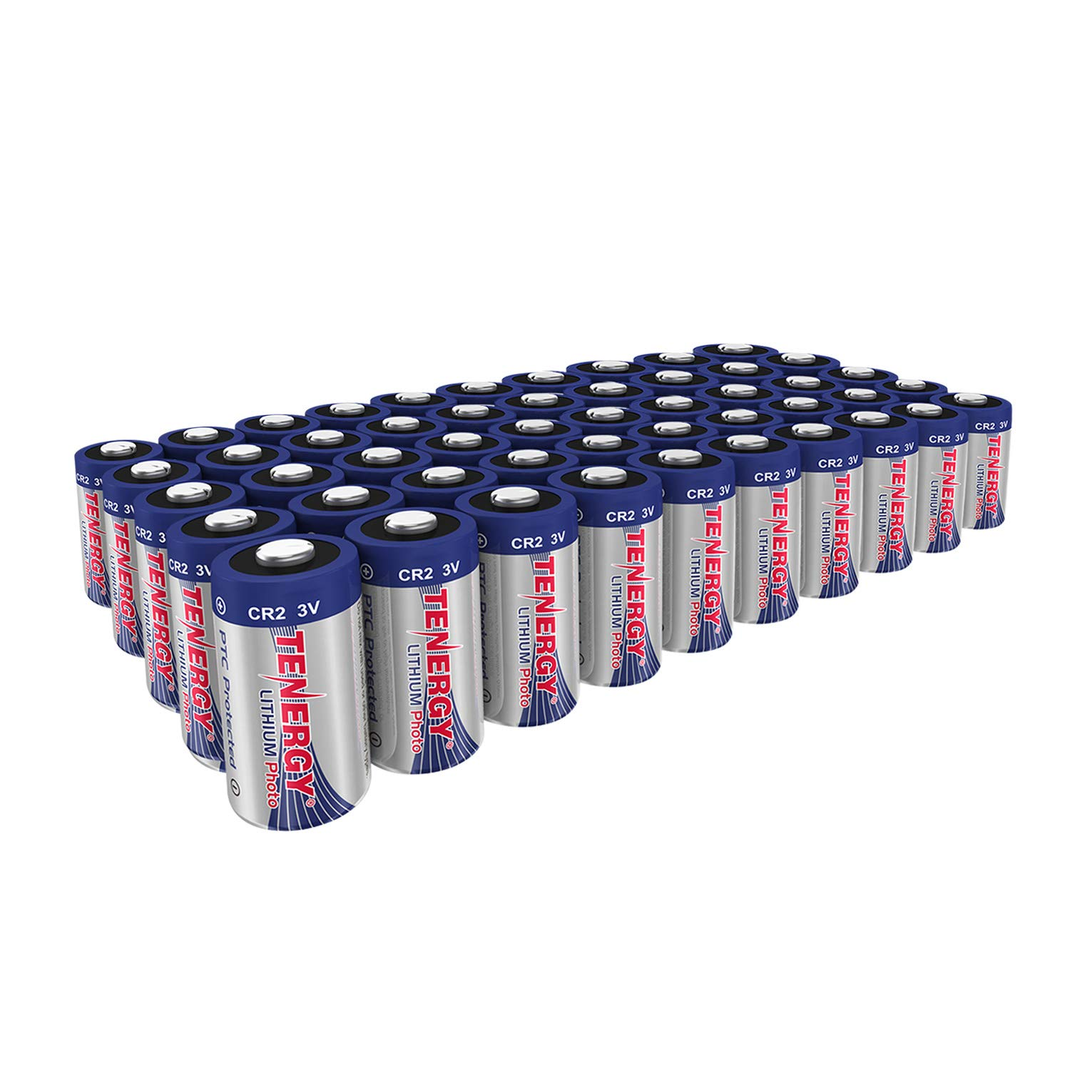 Tenergy CR2 3V Lithium Battery Non-Rechargeable PTC Protected High Performance CR2 Batteries for Flashlight, Digital Cameras, Toys, Alarm Systems (Not For Arlo Camera) 50PCS