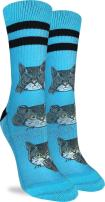 Good Luck Sock Women's No Evil Cat Crew Socks - Blue, Adult Shoe Size 5-9