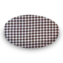 SheetWorld Round Crib Sheets - Brown Gingham Check - Made In USA