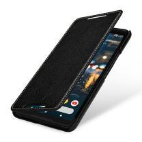StilGut Google Pixel 2 XL Case, Book Type Cover Made of Leather, Black