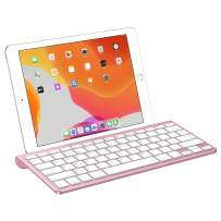 OMOTON Ultra-Slim Bluetooth Keyboard with Sliding Stand, Compatible with iPad 10.2(7th gen)/9.7(6th gen), New iPad Pro 12.9/11 2020, iPad Air 10.5, iPad Mini 5/4, iPhone and Other Phones,Rose Gold