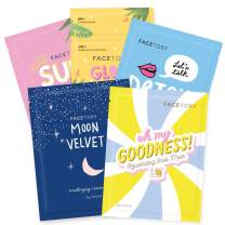 FaceTory Collection Facial Mask Set   For All Skin Types   Hydrating, Purifying, Soothing, Moisturizing, Revitalizing (5 Count)