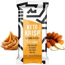 Keto Krisp Protein Snack Bars - Low-Carb, Low-Sugar - (12 Pack, Almond Butter) - Gluten-Free Crispy, Perfectly Delicious, Ketogenic Healthy Diet Snacks and Food