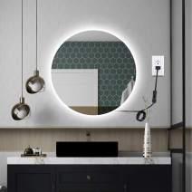 OOWOLF Bathroom LED Mirror, 18.9 Inch Round LED Lighted Vanity Backlit Mirror 5000K Wall Mounted Bathroom Vanity Lighting Mirror Makeup Mirror with LED Lights