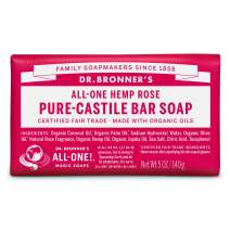 Dr. Bronner's - Pure-Castile Bar Soap (Rose, 5 ounce) - Made with Organic Oils, For Face, Body and Hair, Gentle and Moisturizing, Biodegradable, Vegan, Cruelty-free, Non-GMO