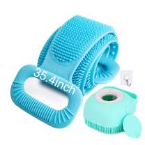 """CUUWE Back Scrubber for Shower Exfoliating Silicone Body Scrubber with Hair Scalp Massager Shampoo Brush 2020 Updated Lengthen 35.4"""" Silicone Body Brush Easy to Clean (Blue)"""