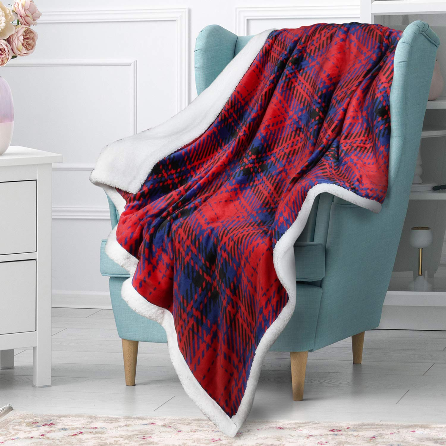 """Buffalo Plaid Sherpa Fleece Blanket, Super Soft Warm Cozy Reversible Fuzzy Checkered Blanket 50"""" x 60"""" for Couch Sofa Bed, Lightweight Red Blue Throw"""