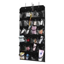 Over The Door Organizer, Crystal Clear Hanging Holder with 2 Metal Hooks for Cosmetics,Toys and Sundries Storage