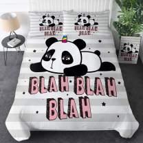 Sleepwish Panda Bedding Panda Bear Comforter Cover Set 3 Pieces Cute Kids Wildlife Animals Bedding Modern Panda Duvet Cover with 2 Matching Pillow Shams(Sweet Panda Blah Blah Blah,Twin)