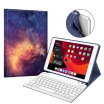 """Fintie Keyboard Case for New iPad 7th Generation 10.2 Inch 2019, Soft TPU Back Stand Cover with Built-in Pencil Holder, Magnetically Detachable Wireless Bluetooth Keyboard for iPad 10.2"""", Galaxy"""