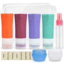Travel Containers for Toiletries Silicone Travel Size Bottles Containers Tsa Approved Leak Proof bottles Shampoo and Conditioner Bottles Set with Clear Toiletry Bag 4 pack 2.4oz