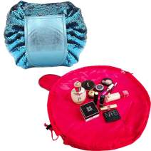 Brishow Mermaid Sequins Travel Makeup Bag Portable Multifunction Toiletry Bag Cosmetic Makeup Case Multifunction Pouch Waterproof Organizer Bag for Women and Girls (Blue+Pink)