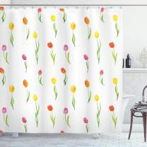 "Ambesonne Watercolor Flower Shower Curtain, Colorful Tulips Pattern Country Style Floral Design Watercolor Effect Art, Cloth Fabric Bathroom Decor Set with Hooks, 84"" Long Extra, White Green"