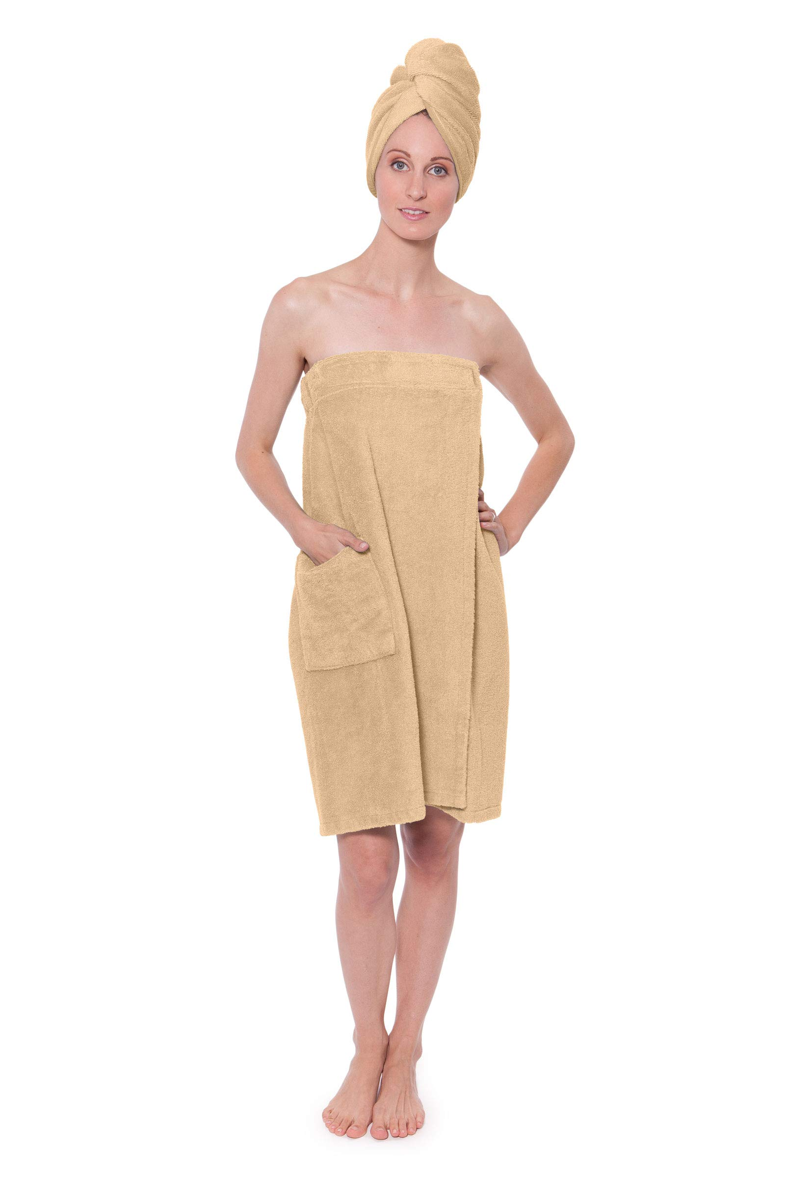 Women's Towel Wrap - Bamboo Viscose Spa Wrap Set by Texere (The Waterfall, Almond Buff, 2X/3X) Comfortable Birthday Holiday Presents for Women WB0103-ABF-2X3X