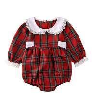 Baby Girl Christmas Dress Matching Newborn Girl Bodysuit Plaid Lace Princess Skirt Family Clothing