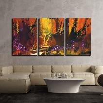 "wall26 - 3 Piece Canvas Wall Art - Illustration - Abstract Colorful Landscape,Fantasy Forest,Illustration Painting - Modern Home Decor Stretched and Framed Ready to Hang - 24""x36""x3 Panels"