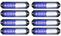 ASPL 8pcs Sync Feature Ultra Slim 12-LED Surface Mount Flashing Strobe Lights for Truck Car Vehicle LED Mini Grille Light Head Emergency Beacon Hazard Warning lights (Blue/White)