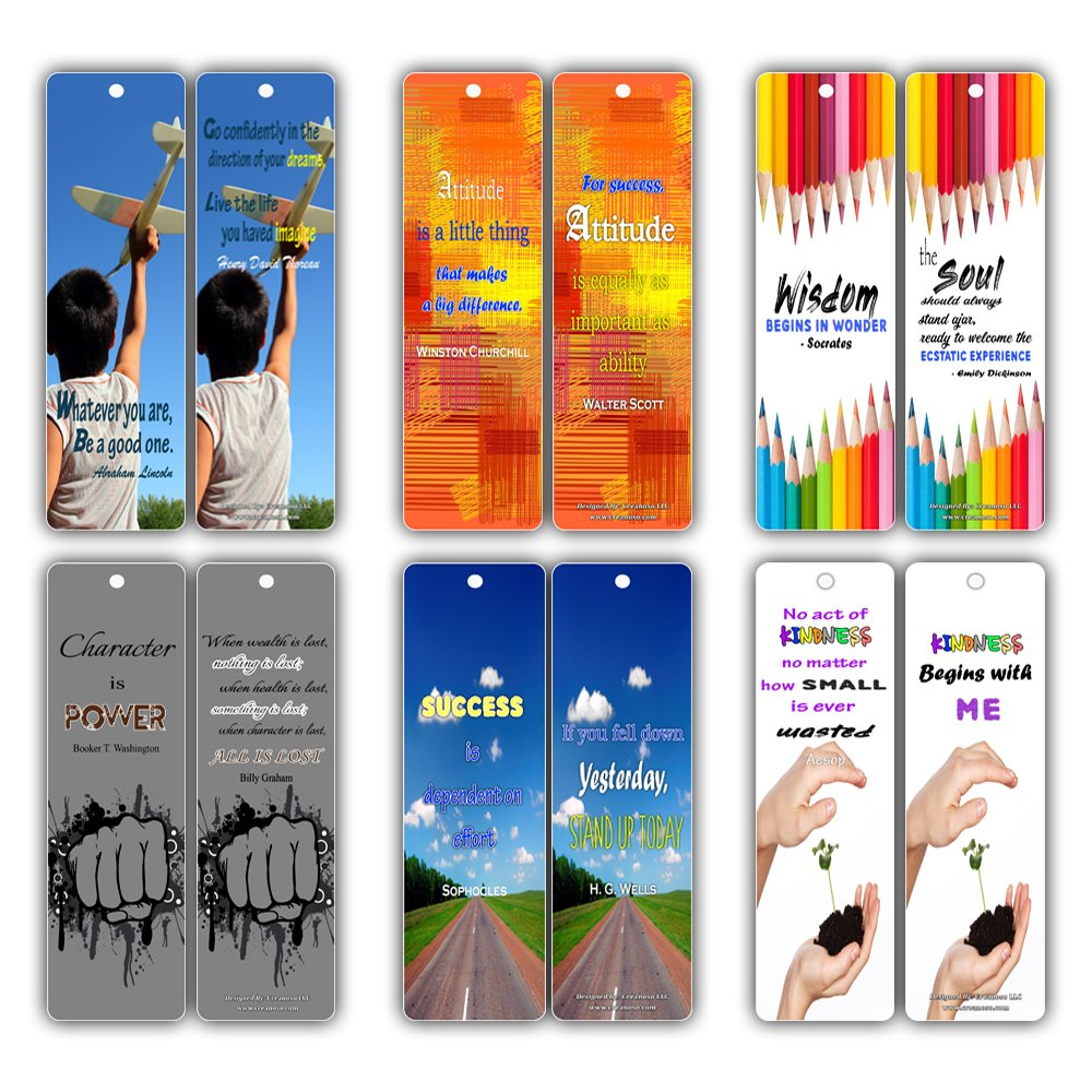 Smart Quotes About Wisdom Attitude Character Success Kindness Future Bookmarks (30-Pack) for Kids, Teens, Boys, Girls - Great Books Reading Rewards Incentives for Kids Boys Girls Classroom Supplies