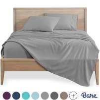 Bare Home Full Sheet Set - Kids Size - 1800 Ultra-Soft Microfiber Bed Sheets - Double Brushed Breathable Bedding - Hypoallergenic - Wrinkle Resistant - Deep Pocket (Full, Light Grey)